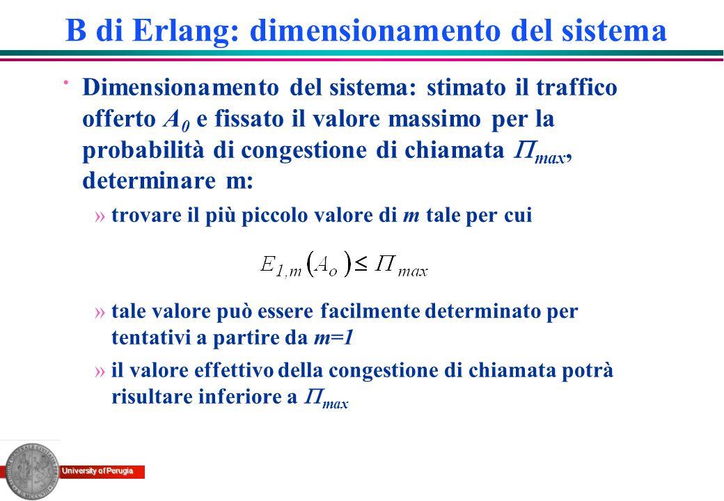 University of Perugia · Dimensionamento del sistema: stimato il traffico offerto A 0 e fissato il valore massimo per la probabilità di congestione di