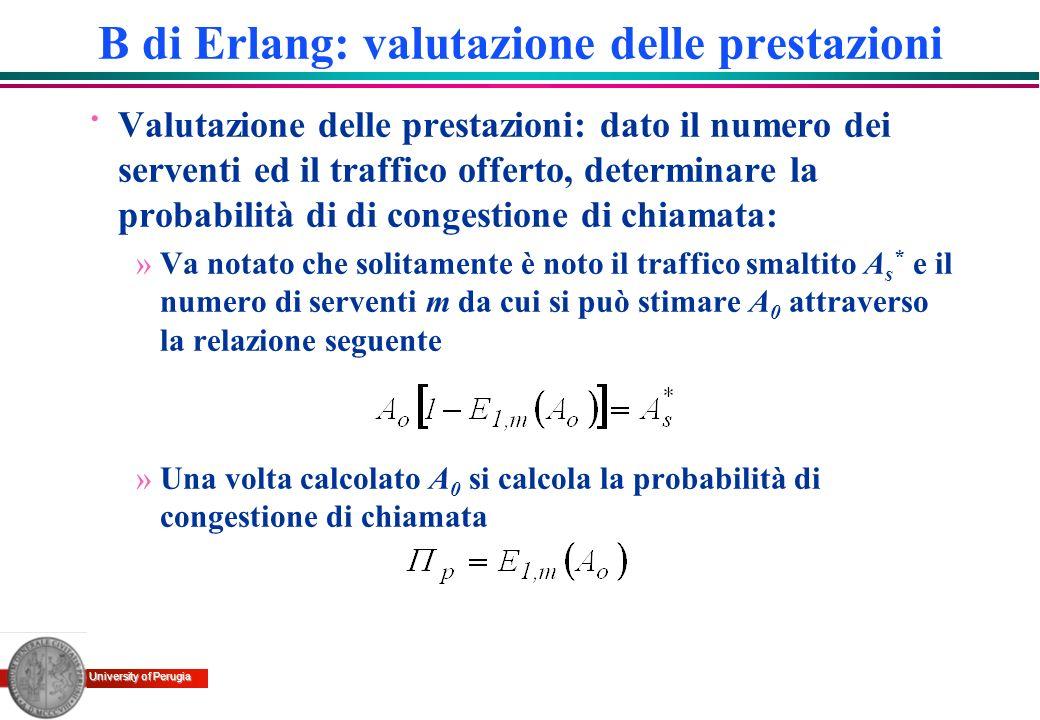 University of Perugia · Valutazione delle prestazioni: dato il numero dei serventi ed il traffico offerto, determinare la probabilità di di congestion