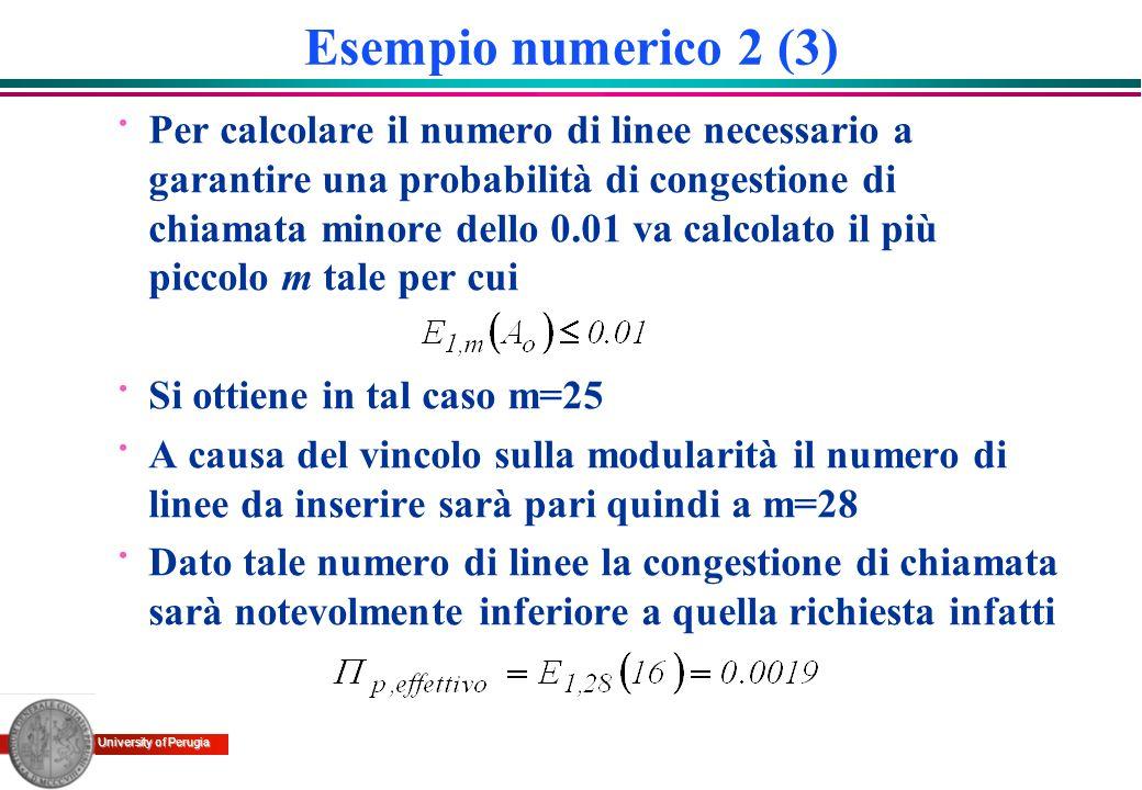 University of Perugia Esempio numerico 2 (3) · Per calcolare il numero di linee necessario a garantire una probabilità di congestione di chiamata mino