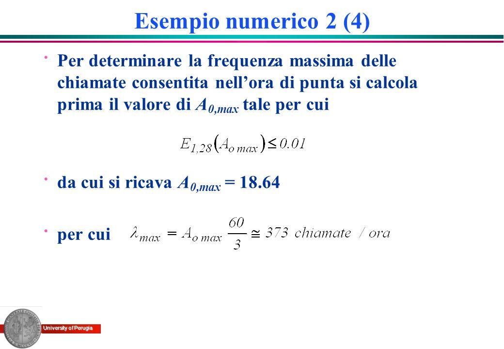 University of Perugia Esempio numerico 2 (4) · Per determinare la frequenza massima delle chiamate consentita nellora di punta si calcola prima il val