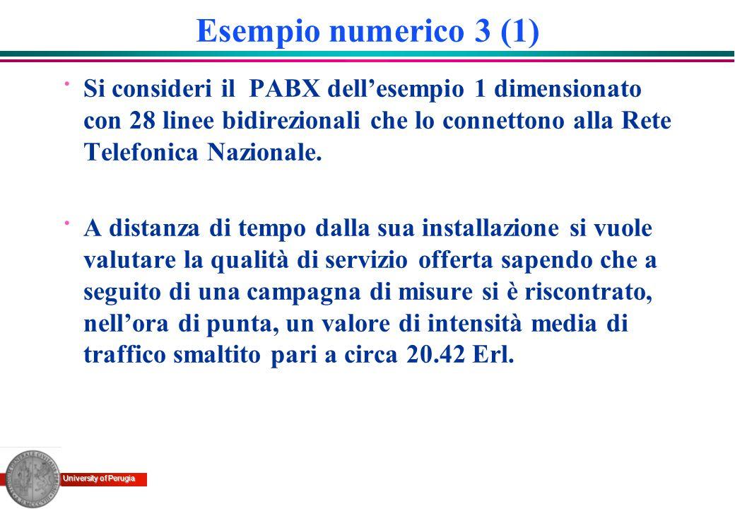 University of Perugia Esempio numerico 3 (1) · Si consideri il PABX dellesempio 1 dimensionato con 28 linee bidirezionali che lo connettono alla Rete