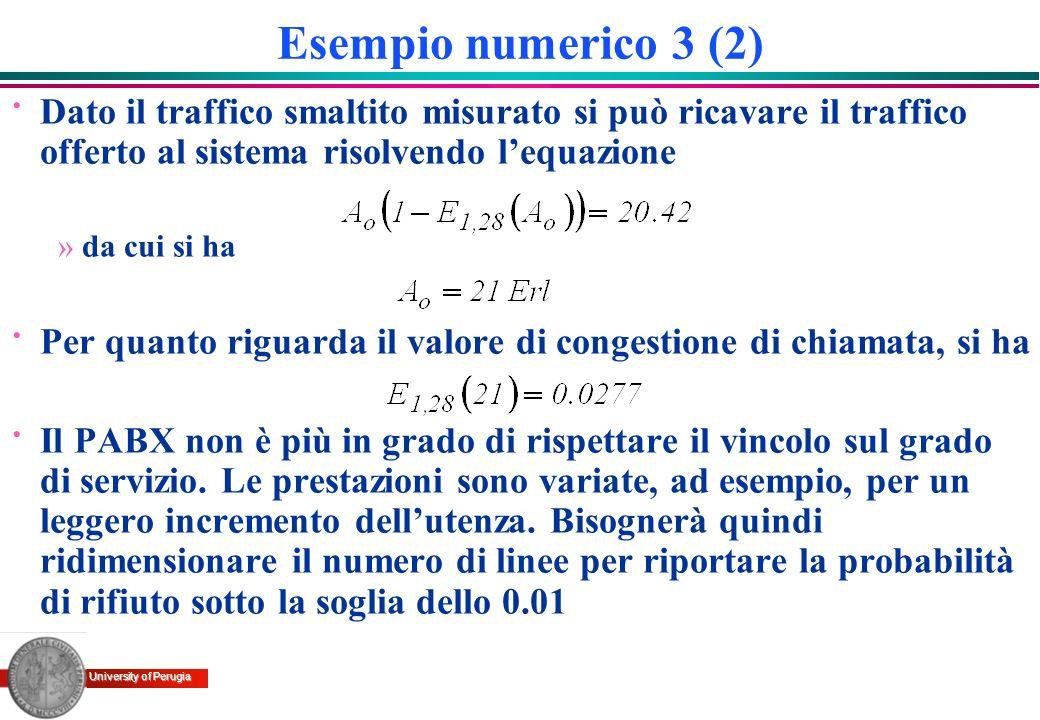 University of Perugia Esempio numerico 3 (2) · Dato il traffico smaltito misurato si può ricavare il traffico offerto al sistema risolvendo lequazione