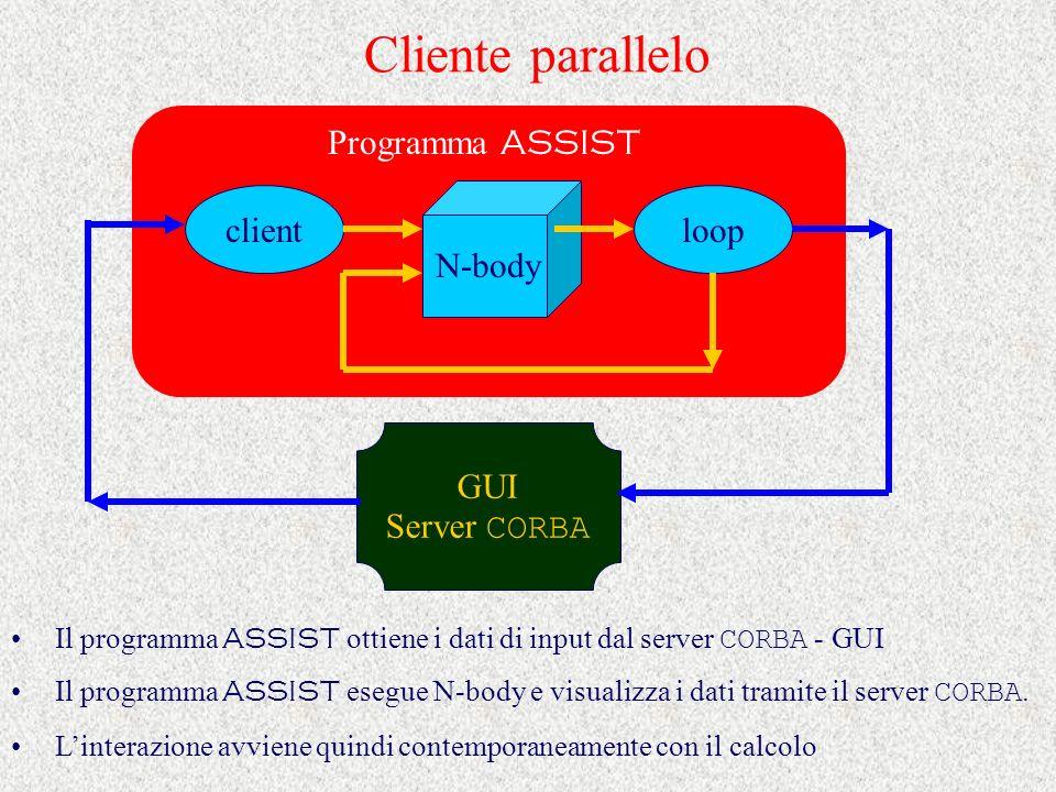 Cliente parallelo Il programma ASSIST ottiene i dati di input dal server CORBA - GUI Il programma ASSIST esegue N-body e visualizza i dati tramite il