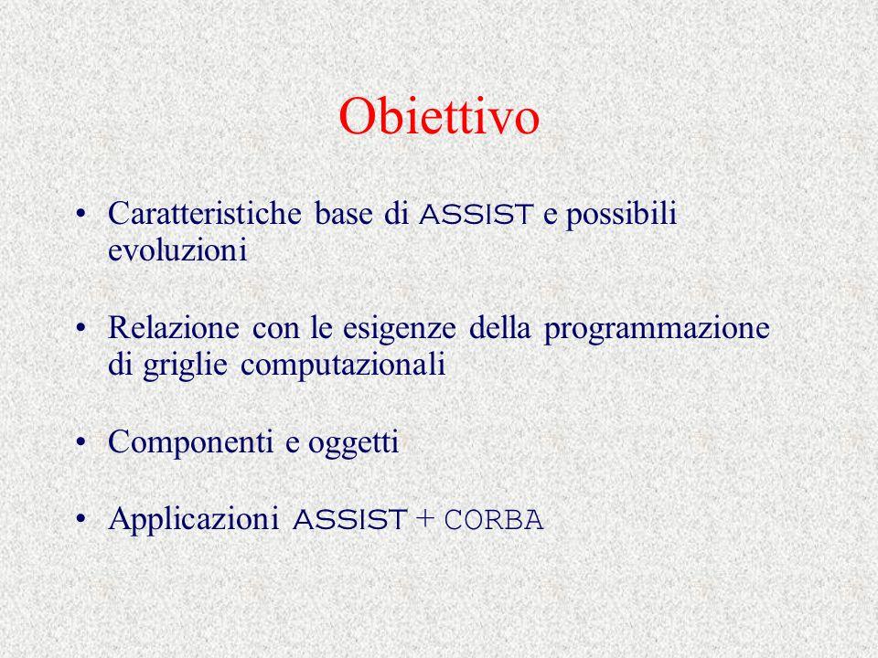 Obiettivo Caratteristiche base di ASSIST e possibili evoluzioni Relazione con le esigenze della programmazione di griglie computazionali Componenti e oggetti Applicazioni ASSIST + CORBA