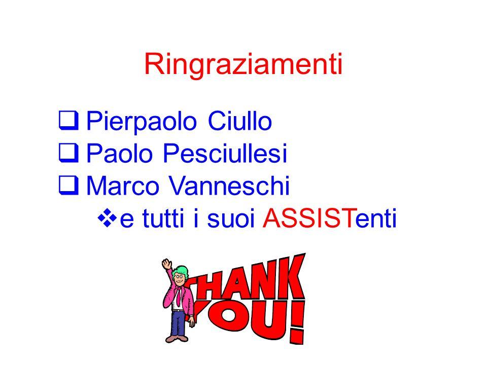 Ringraziamenti Pierpaolo Ciullo Paolo Pesciullesi Marco Vanneschi e tutti i suoi ASSISTenti