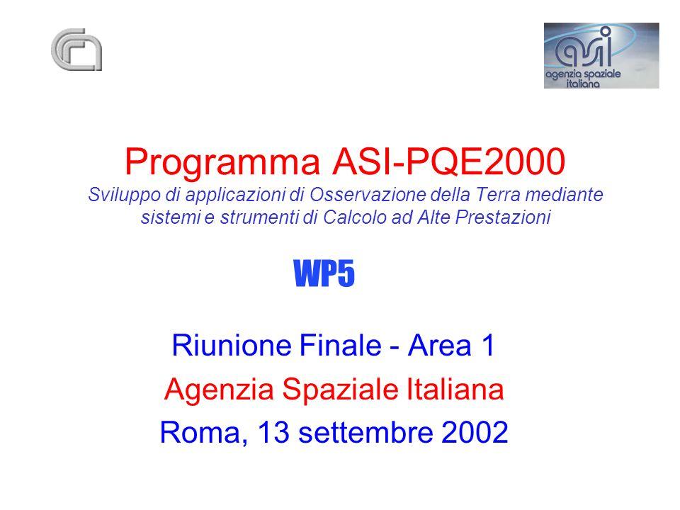 Programma ASI-PQE2000 Sviluppo di applicazioni di Osservazione della Terra mediante sistemi e strumenti di Calcolo ad Alte Prestazioni Riunione Finale - Area 1 Agenzia Spaziale Italiana Roma, 13 settembre 2002 WP5