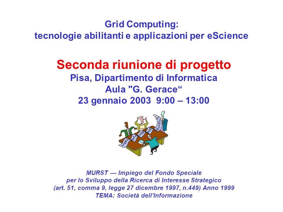 Grid Computing: tecnologie abilitanti e applicazioni per eScience MURST Impiego del Fondo Speciale per lo Sviluppo della Ricerca di Interesse Strategico (art.