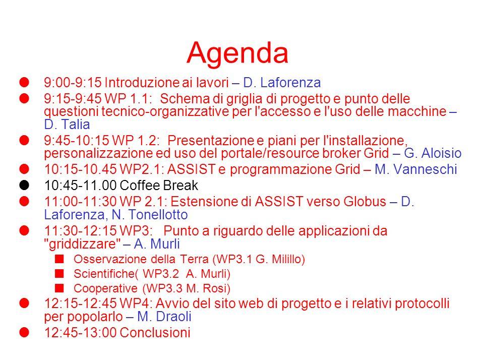 Agenda 9:00-9:15 Introduzione ai lavori – D.
