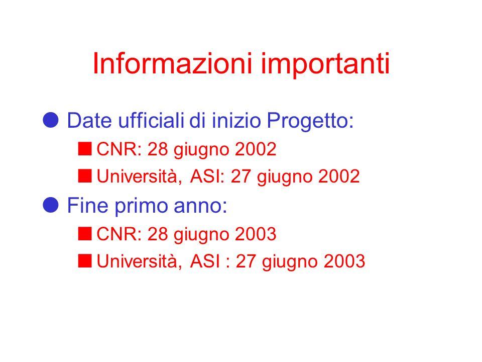 Informazioni importanti Date ufficiali di inizio Progetto: CNR: 28 giugno 2002 Università, ASI: 27 giugno 2002 Fine primo anno: CNR: 28 giugno 2003 Università, ASI : 27 giugno 2003
