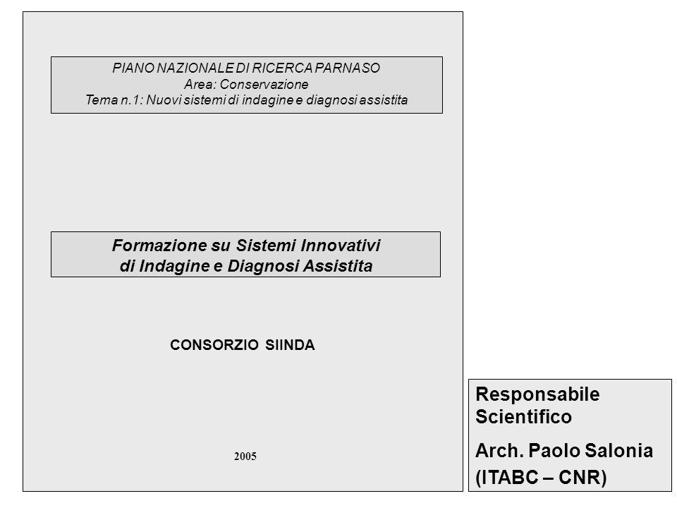 PIANO NAZIONALE DI RICERCA PARNASO Area: Conservazione Tema n.1: Nuovi sistemi di indagine e diagnosi assistita Formazione su Sistemi Innovativi di Indagine e Diagnosi Assistita Responsabile Scientifico Arch.