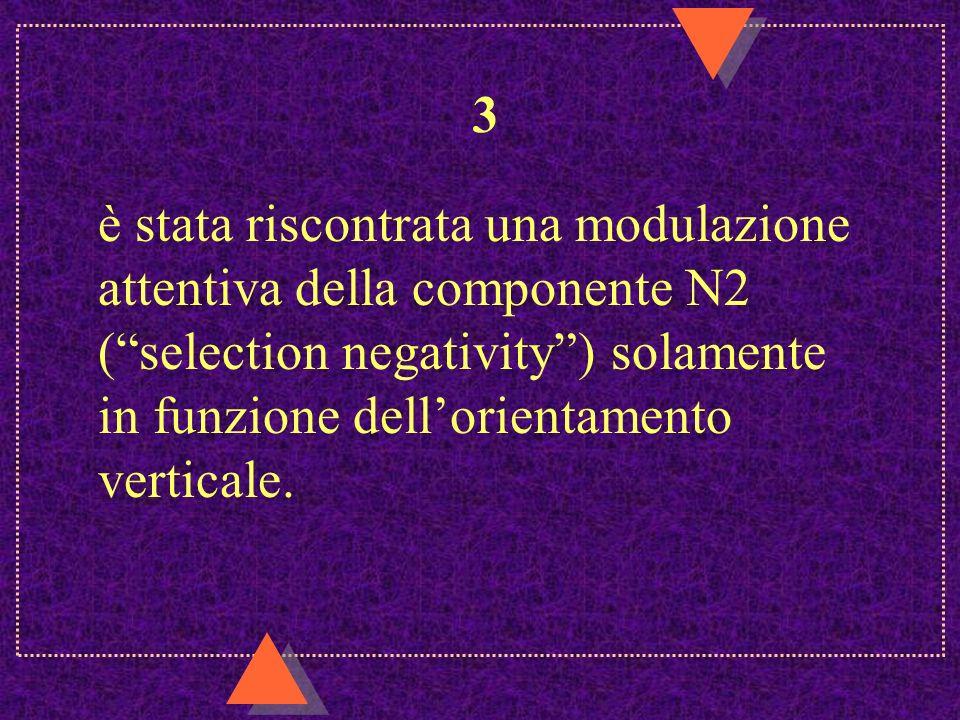 3 è stata riscontrata una modulazione attentiva della componente N2 (selection negativity) solamente in funzione dellorientamento verticale.