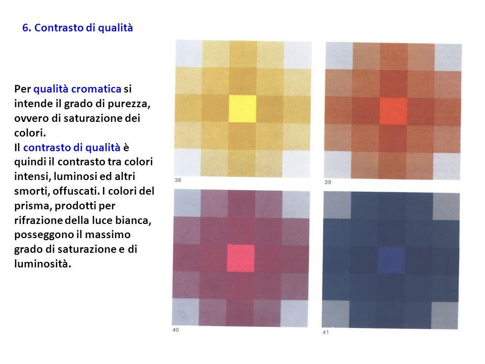 6. Contrasto di qualità Per qualità cromatica si intende il grado di purezza, ovvero di saturazione dei colori. Il contrasto di qualità è quindi il co