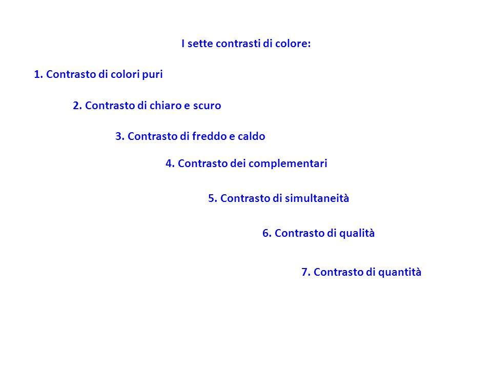 I sette contrasti di colore: 1. Contrasto di colori puri 2. Contrasto di chiaro e scuro 3. Contrasto di freddo e caldo 4. Contrasto dei complementari