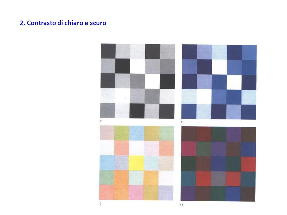 Chiaroscuro cromatico: Poniamo accanto la gamma dei dodici toni successivi di grigio dal bianco al nero e le serie parallele dei dodici colori puri del disco cromatico, facendo si che i loro valori luminosi corrispondano sempre alle gradazioni tonali dei grigi.