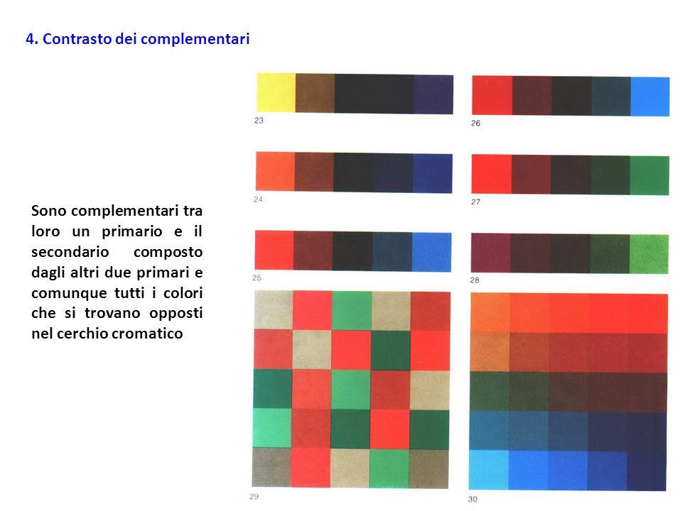 4. Contrasto dei complementari Sono complementari tra loro un primario e il secondario composto dagli altri due primari e comunque tutti i colori che