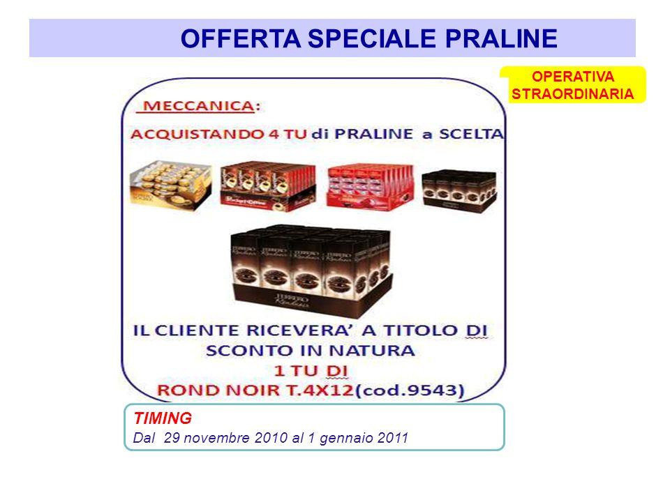 OFFERTA SPECIALE PRALINE TIMING Dal 29 novembre 2010 al 1 gennaio 2011 OPERATIVA STRAORDINARIA