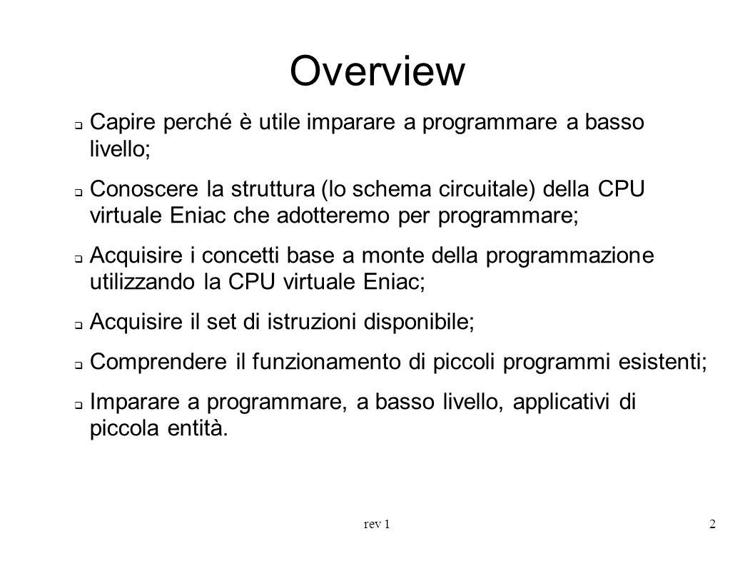 rev 12 Overview Capire perché è utile imparare a programmare a basso livello; Conoscere la struttura (lo schema circuitale) della CPU virtuale Eniac c