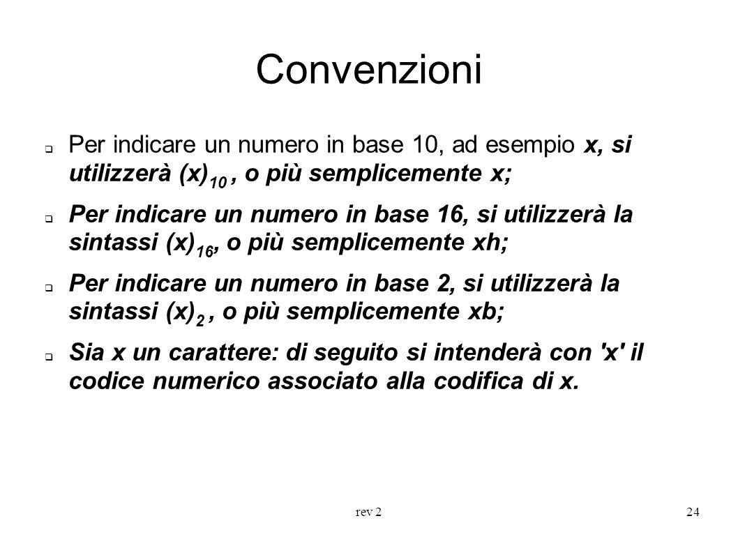 rev 224 Convenzioni Per indicare un numero in base 10, ad esempio x, si utilizzerà (x) 10, o più semplicemente x; Per indicare un numero in base 16, s