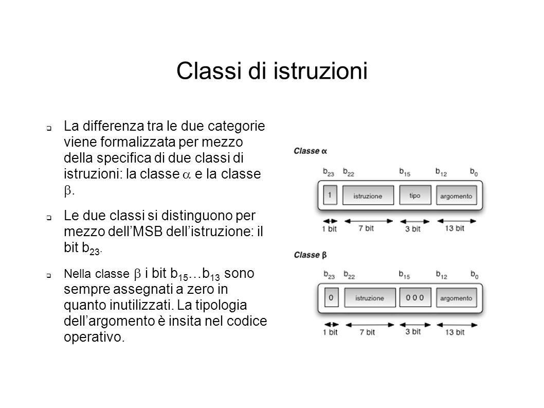 Classi di istruzioni La differenza tra le due categorie viene formalizzata per mezzo della specifica di due classi di istruzioni: la classe e la class