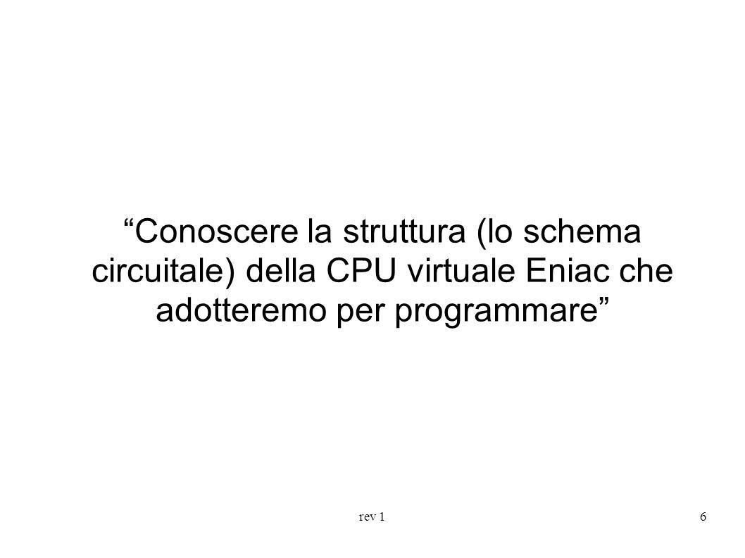 rev 16 Conoscere la struttura (lo schema circuitale) della CPU virtuale Eniac che adotteremo per programmare