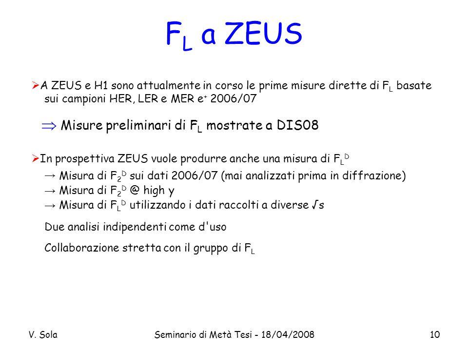 V. SolaSeminario di Metà Tesi - 18/04/200810 F L a ZEUS A ZEUS e H1 sono attualmente in corso le prime misure dirette di F L basate sui campioni HER,