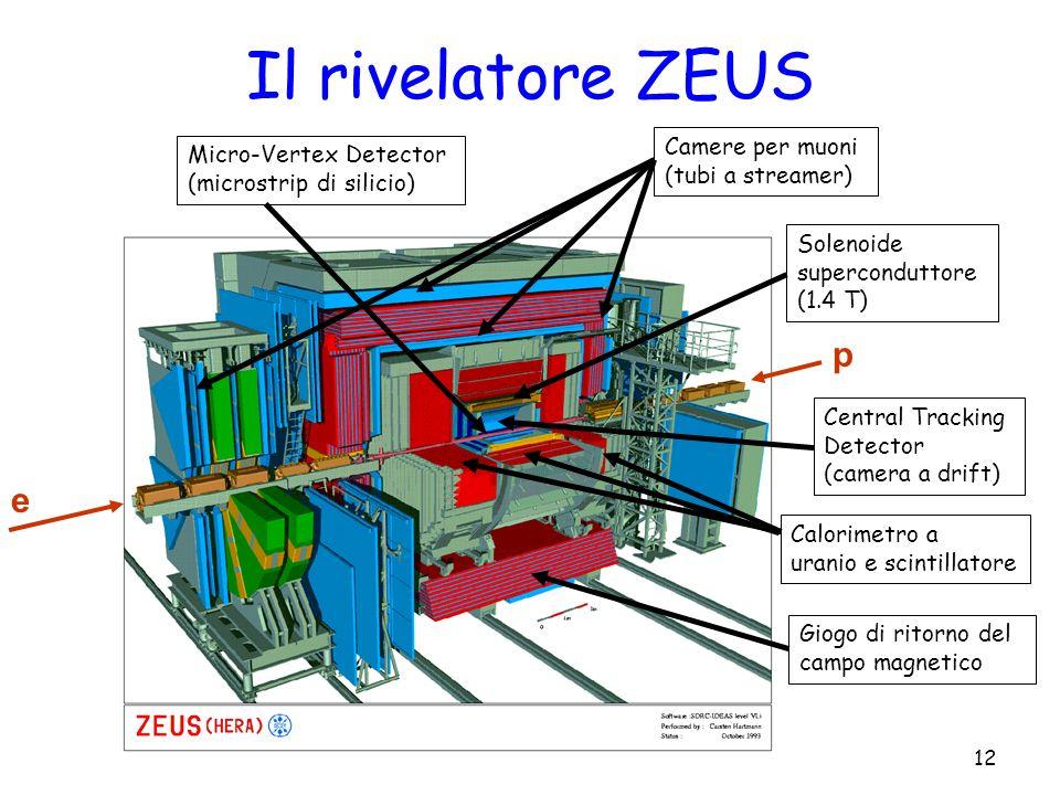 V. SolaSeminario di Metà Tesi - 18/04/200812 Il rivelatore ZEUS p e Micro-Vertex Detector (microstrip di silicio) Camere per muoni (tubi a streamer) S