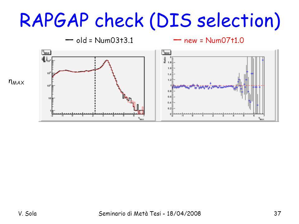 V. SolaSeminario di Metà Tesi - 18/04/200837 RAPGAP check (DIS selection) η MAX old = Num03t3.1 new = Num07t1.0