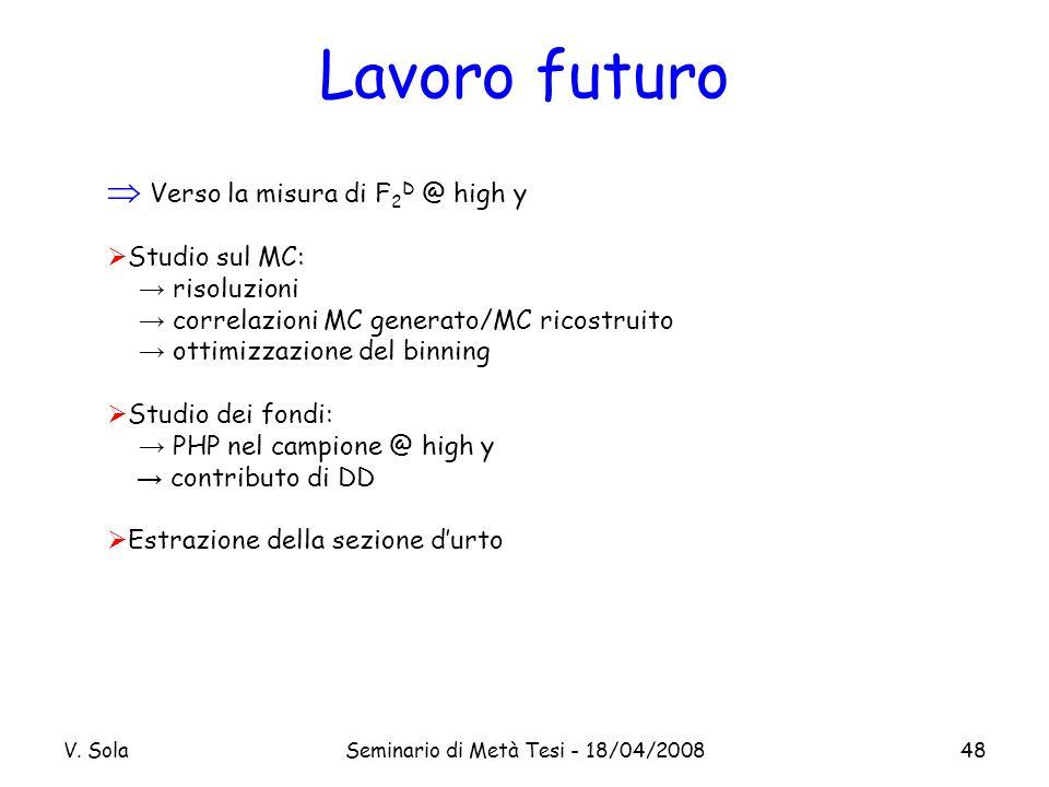V. SolaSeminario di Metà Tesi - 18/04/200848 Lavoro futuro Verso la misura di F 2 D @ high y Studio sul MC: risoluzioni correlazioni MC generato/MC ri