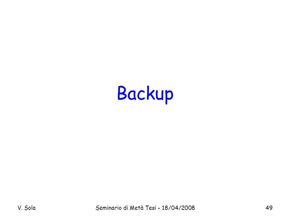 V. SolaSeminario di Metà Tesi - 18/04/200849 Backup