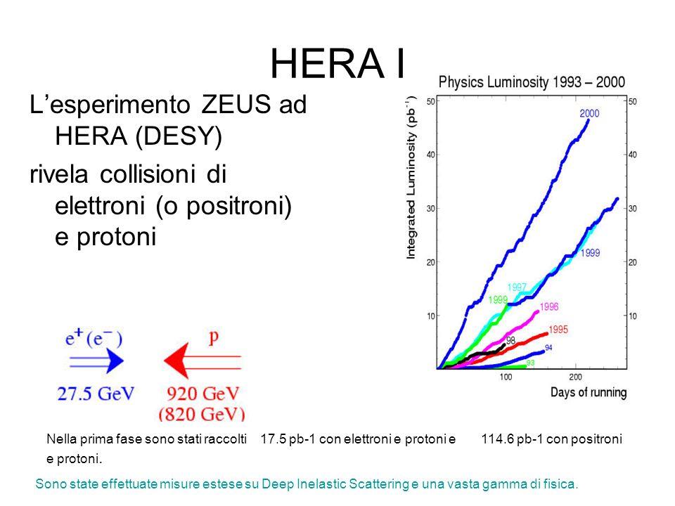 HERA I Lesperimento ZEUS ad HERA (DESY) rivela collisioni di elettroni (o positroni) e protoni Nella prima fase sono stati raccolti 17.5 pb-1 con elettroni e protoni e 114.6 pb-1 con positroni e protoni.
