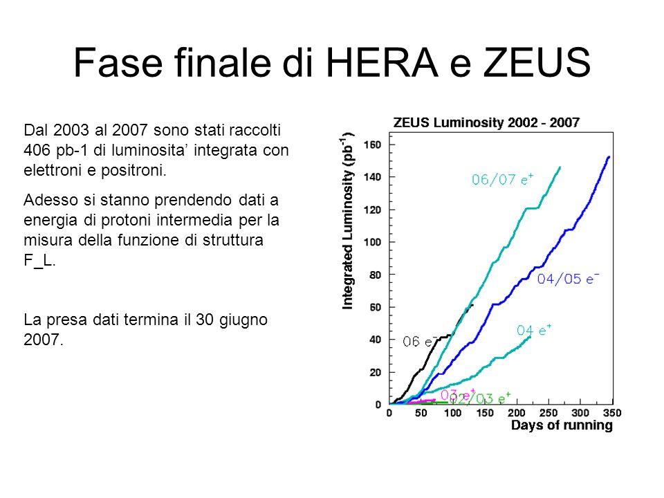 Fase finale di HERA e ZEUS Dal 2003 al 2007 sono stati raccolti 406 pb-1 di luminosita integrata con elettroni e positroni. Adesso si stanno prendendo