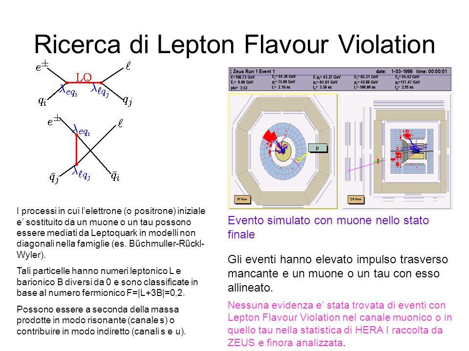 Ricerca di Lepton Flavour Violation I processi in cui lelettrone (o positrone) iniziale e sostituito da un muone o un tau possono essere mediati da Leptoquark in modelli non diagonali nella famiglie (es.