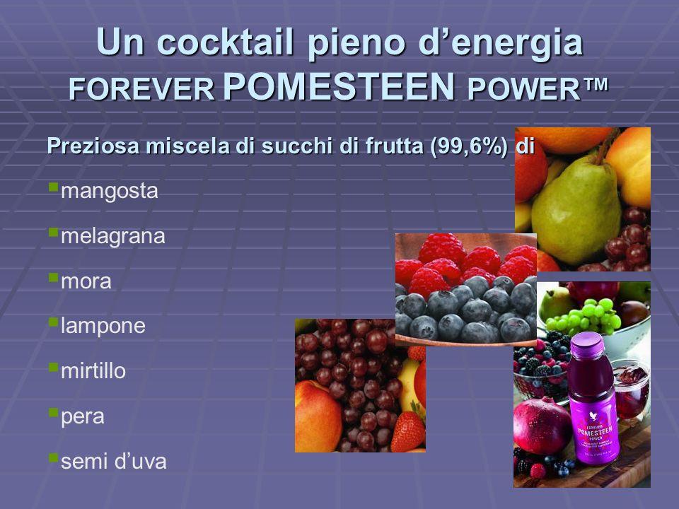 Preziosa miscela di succhi di frutta (99,6%) di mangosta melagrana mora lampone mirtillo pera semi duva Un cocktail pieno denergia FOREVER POMESTEEN P