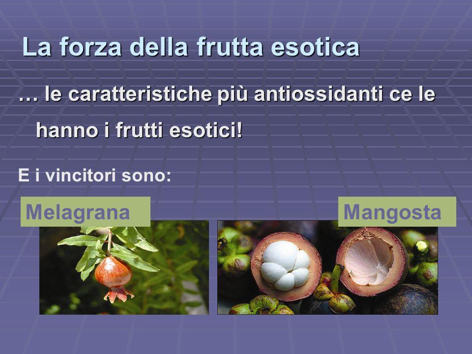 La forza della frutta esotica … le caratteristiche più antiossidanti ce le hanno i frutti esotici! E i vincitori sono: MelagranaMangosta