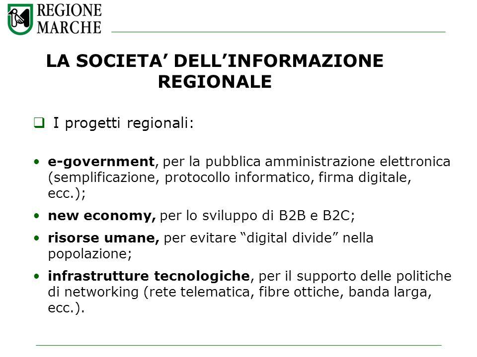 LA SOCIETA DELLINFORMAZIONE REGIONALE I progetti regionali: e-government, per la pubblica amministrazione elettronica (semplificazione, protocollo inf