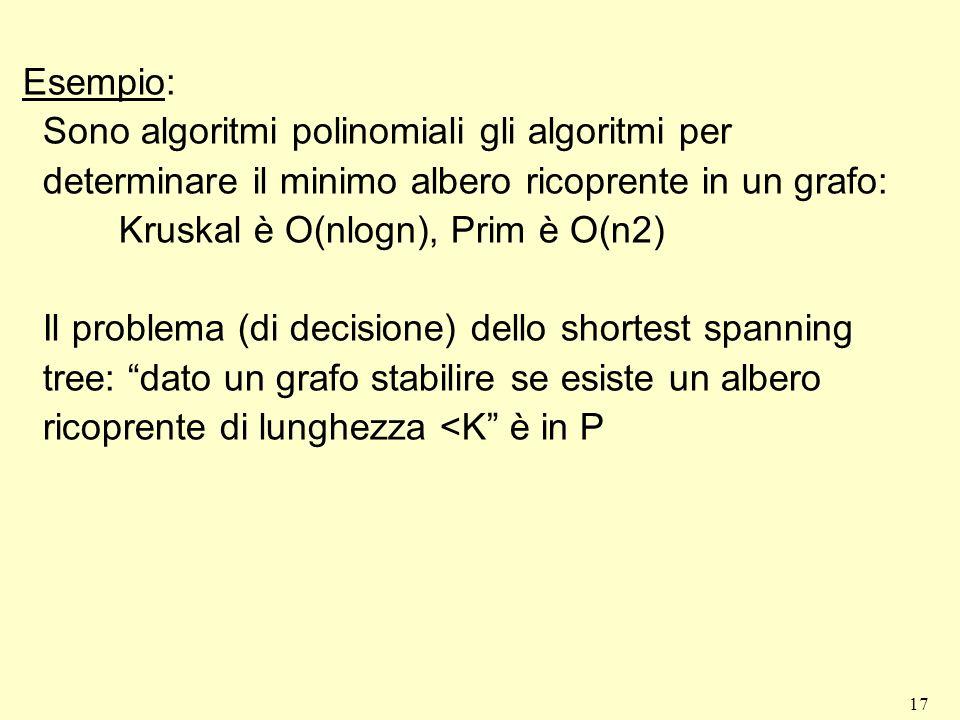 17 Esempio: Sono algoritmi polinomiali gli algoritmi per determinare il minimo albero ricoprente in un grafo: Kruskal è O(nlogn), Prim è O(n2) Il prob