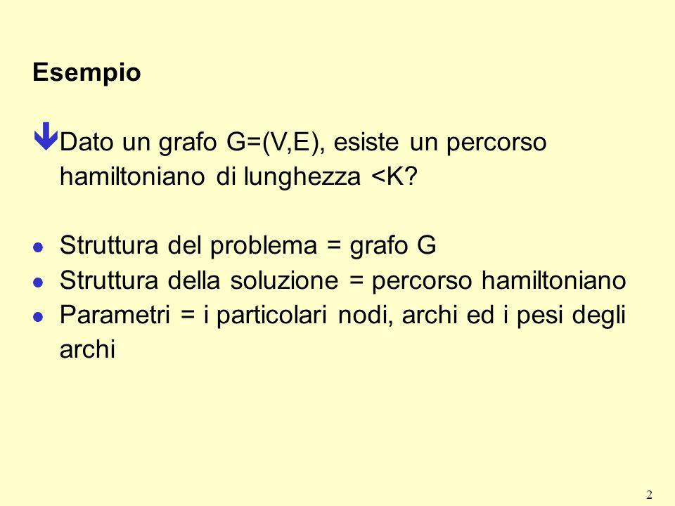 3 Definizioni fondamentali Istanza di un problema Un particolare caso del problema per cui sono stati specificati i valori assunti dai parametri.