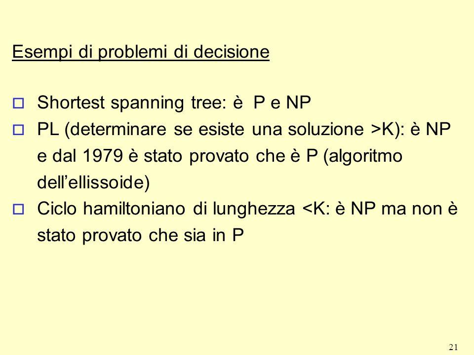21 Esempi di problemi di decisione o Shortest spanning tree: è P e NP o PL (determinare se esiste una soluzione >K): è NP e dal 1979 è stato provato c