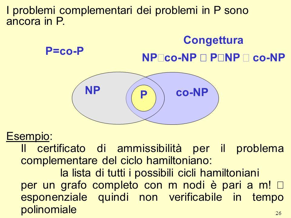 26 I problemi complementari dei problemi in P sono ancora in P. P=co-P Congettura NP co-NP P NP co-NP P NP co-NP Esempio: Il certificato di ammissibil