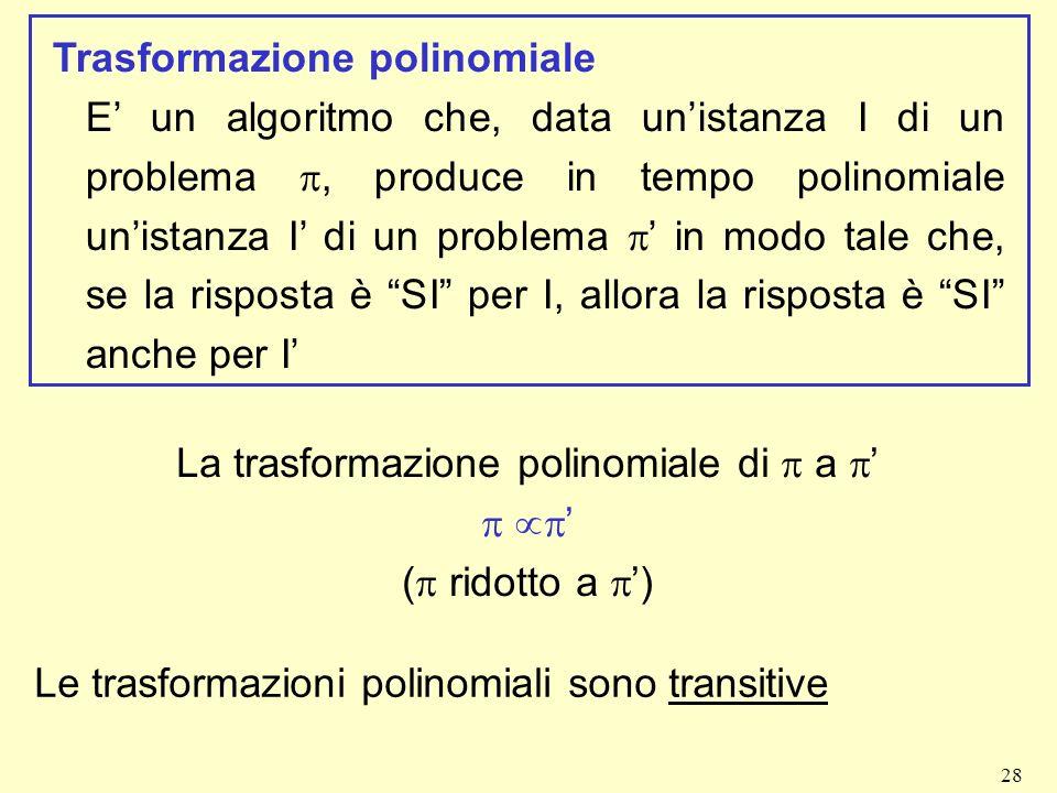 28 Trasformazione polinomiale E un algoritmo che, data unistanza I di un problema, produce in tempo polinomiale unistanza I di un problema in modo tal