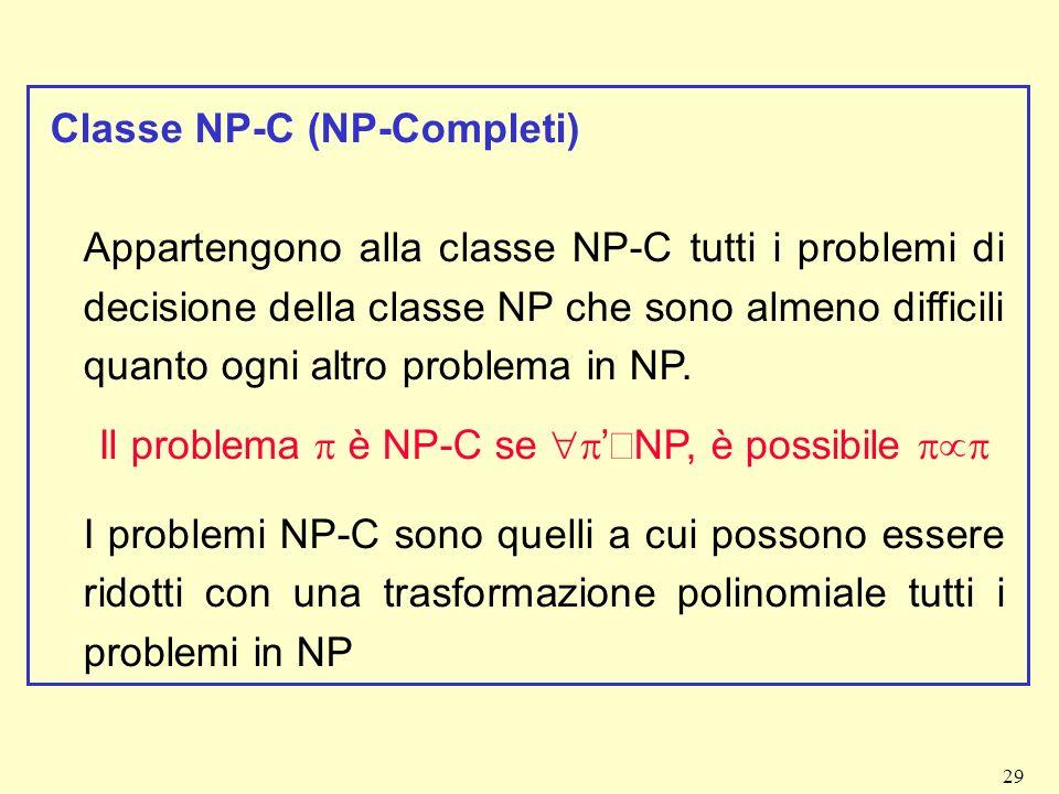 29 Classe NP-C (NP-Completi) Appartengono alla classe NP-C tutti i problemi di decisione della classe NP che sono almeno difficili quanto ogni altro p