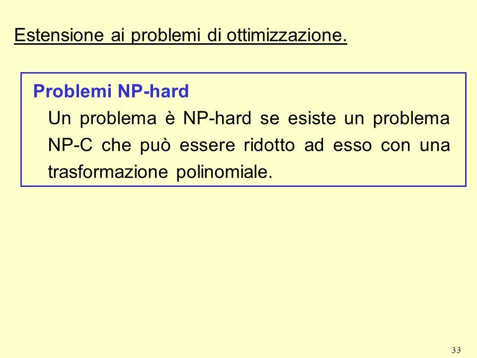 33 Estensione ai problemi di ottimizzazione. Problemi NP-hard Un problema è NP-hard se esiste un problema NP-C che può essere ridotto ad esso con una