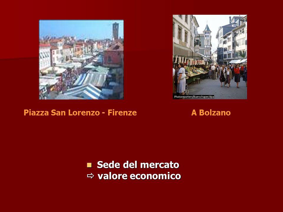 Sede del mercato Sede del mercato valore economico valore economico Piazza San Lorenzo - FirenzeA Bolzano