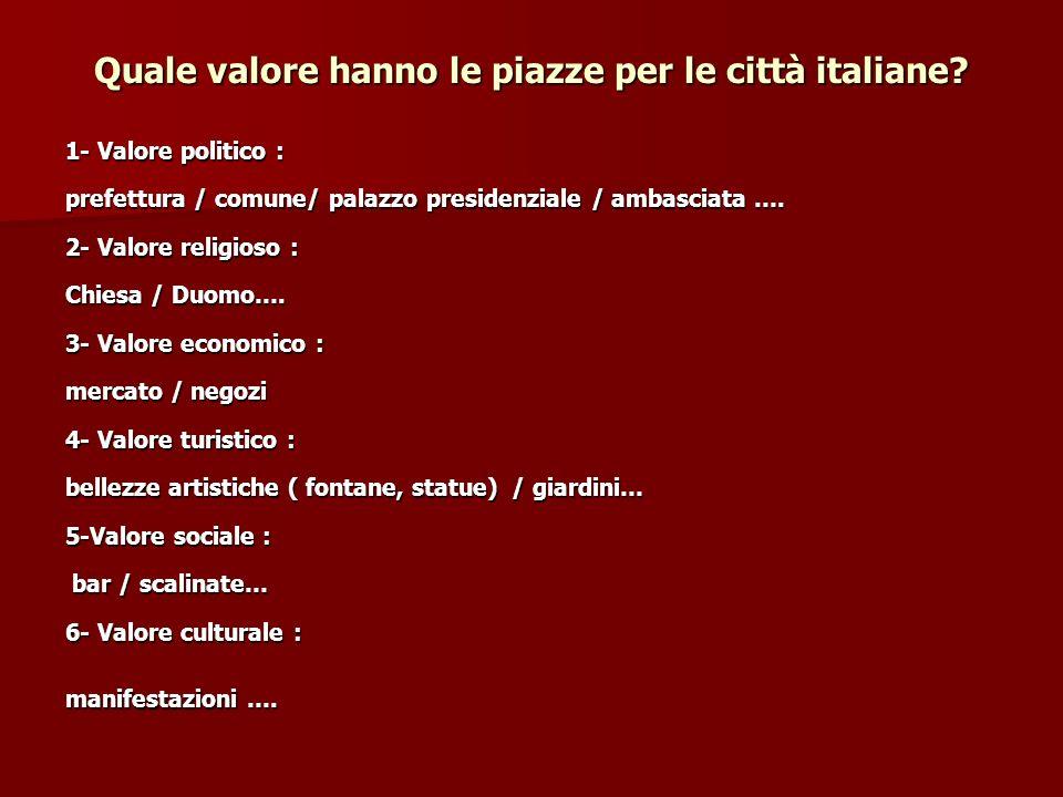 Quale valore hanno le piazze per le città italiane.