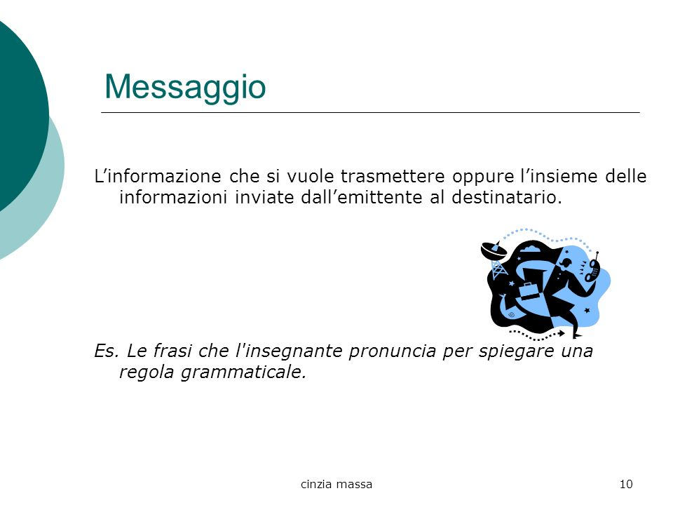 cinzia massa10 Messaggio Linformazione che si vuole trasmettere oppure linsieme delle informazioni inviate dallemittente al destinatario. Es. Le frasi