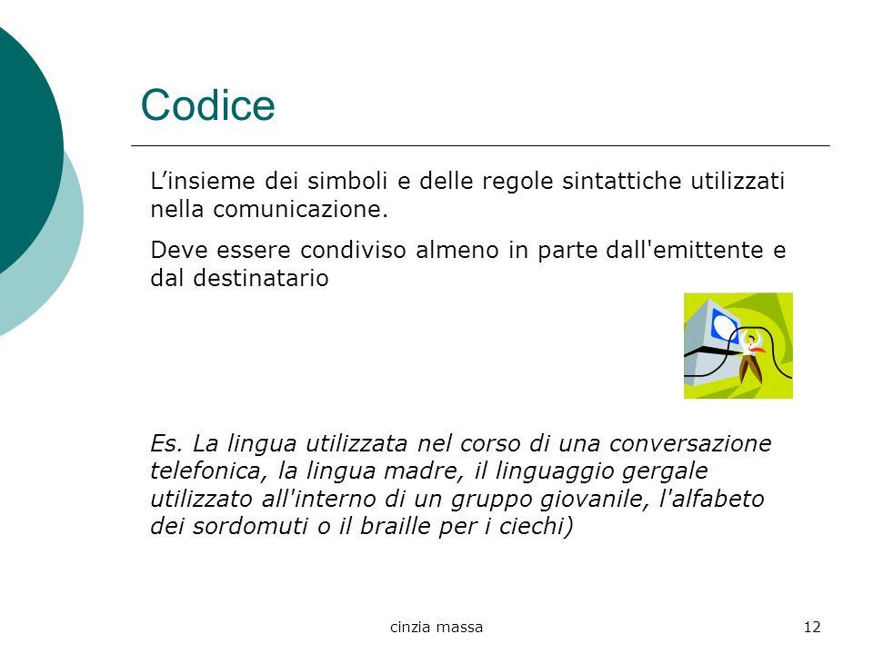 cinzia massa12 Codice Linsieme dei simboli e delle regole sintattiche utilizzati nella comunicazione. Deve essere condiviso almeno in parte dall'emitt