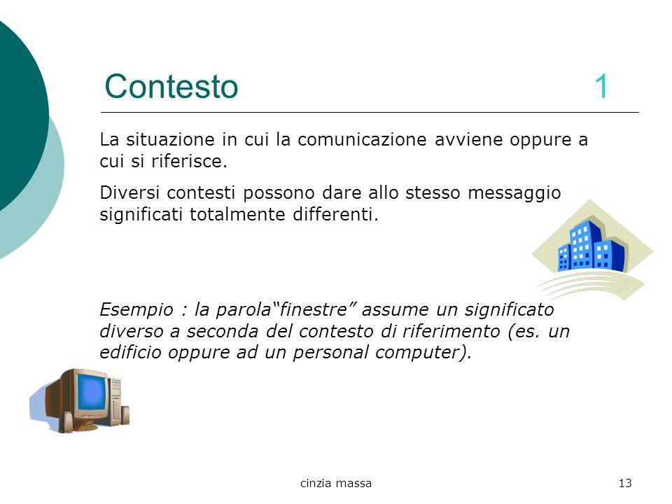 cinzia massa13 Contesto 1 La situazione in cui la comunicazione avviene oppure a cui si riferisce. Diversi contesti possono dare allo stesso messaggio