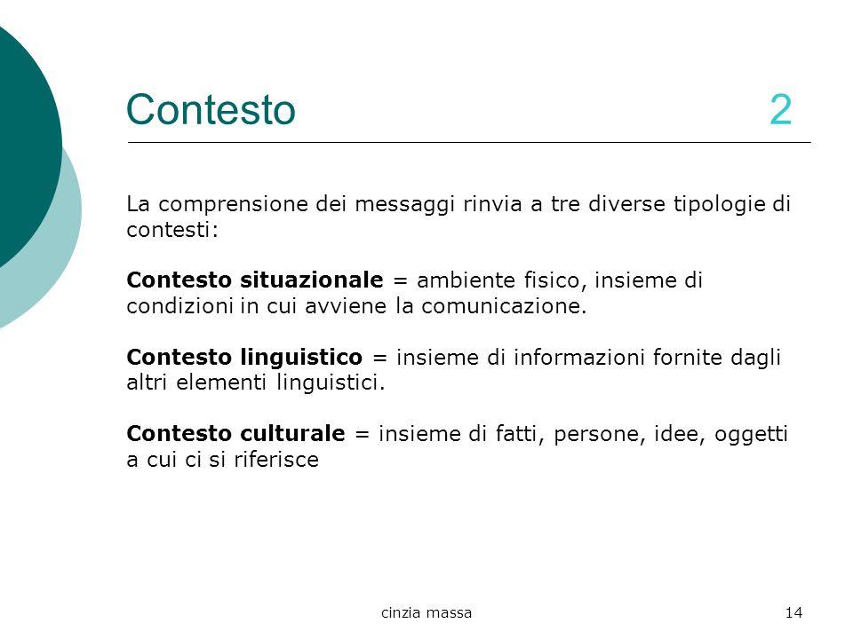cinzia massa14 Contesto 2 La comprensione dei messaggi rinvia a tre diverse tipologie di contesti: Contesto situazionale = ambiente fisico, insieme di