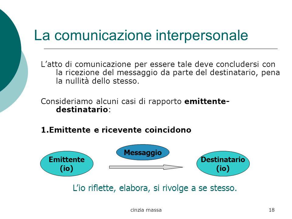 cinzia massa18 La comunicazione interpersonale Latto di comunicazione per essere tale deve concludersi con la ricezione del messaggio da parte del des