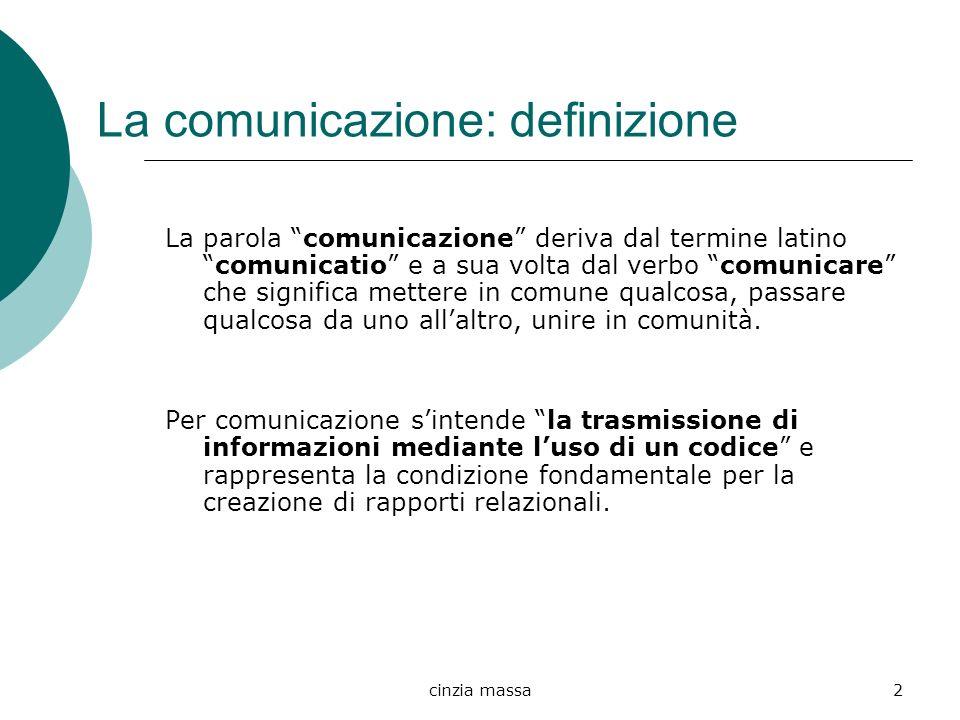 cinzia massa2 La comunicazione: definizione La parola comunicazione deriva dal termine latinocomunicatio e a sua volta dal verbo comunicare che signif